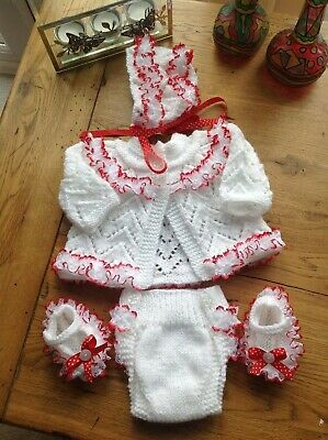hand knit reborn/ newborn set white with red lace ,ribbon,buttons,bonnet