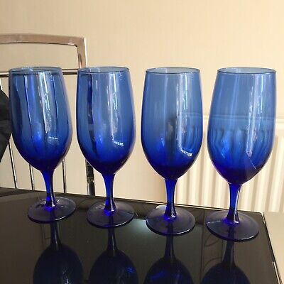 4 French Luminarc Cobalt Blue Moulded Crystal Glass Goblets Glasses 8.25 Inches