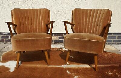 Pair Vintage German Cocktail Chairs With Armchairs Perfect 2 Re-Cover Apr19-28