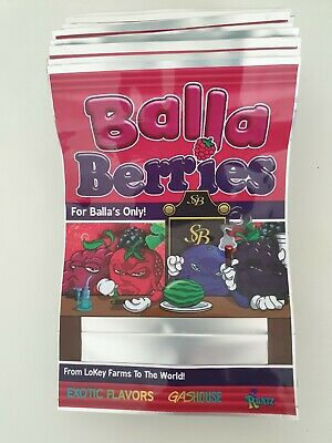 100x NEW BALLA BERRIES Mylar Bag Cali tin label CaliLabels