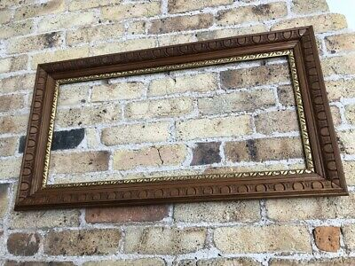 Antique Vintage French Oak Wood Picture Frame Egg & Dart Detail Gilt Slips Large