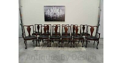 Circa 1920 Set / 12 Ball & Claw Foot Mahogany Queen Anne Style Dining Chairs