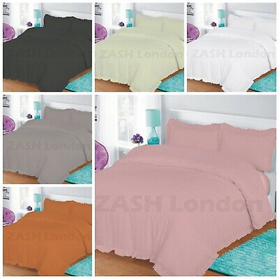 New Frilled Duvet Set Plain Dyed Poly-Cotton Luxury Quilt Cover or Pillow Cases