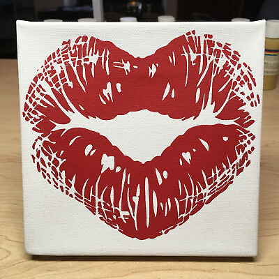 Heart Kiss Love Lips Hand Crafted Modern Abstract Acrylic Pop Art Painting