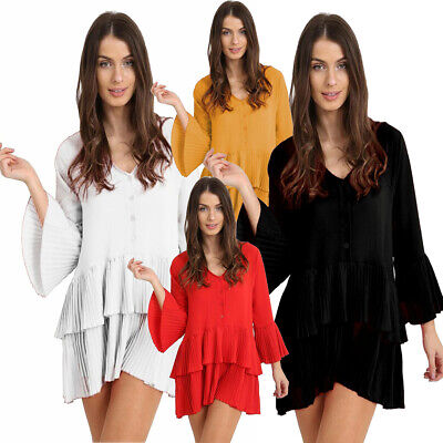 Womens Ladies V Neck Bell Sleeves Ruffle Frill Pleated Button Up Mini Dress Top