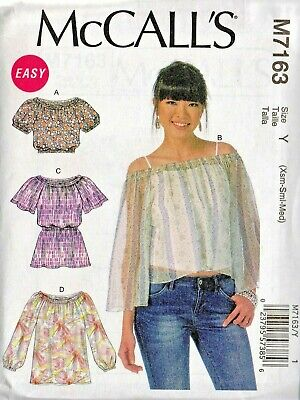 M7163 MCCALL'S SEWING Pattern Misses 4-26 Pullover Peasant