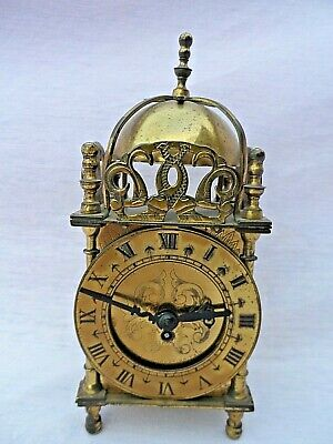 Vintage Smiths 8 Day Solid Brass Mechanical Lantern Clock With Key Nice Conditio