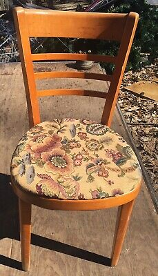 Thonet Dining Chairs Mid Century Modern Upholstered Wood Set of 4 Ladder Back