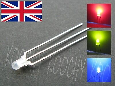 3mm BI COLOUR LED DIFFUSED - Red/Green Red/Blue 3 pin Common CATHODE or ANODE UK