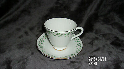 ROYAL TARA White w/ Green Shamrocks Cup & Saucer/Gold Trim-Ireland/EXCELLENT