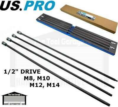 "US PRO Tools 4pc 1/2"" dr Extra Long Spline Bit Sockets m8 m10 m12 m14 NEW 3389"