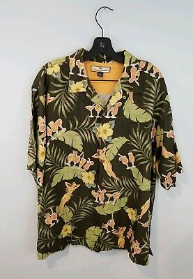 e8ce6e38 Tommy Bahama 100% Silk Hula Dancer Short Sleeve Hawaiian Shirt Mens L  Coconut