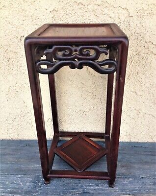 """Antique 15"""" Chinese Rosewood Long Legs Square Base Stand Table Reticulated Skirt"""