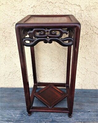 Antique Chinese Rosewood Long Legs Square Base / Stand/ Table, Reticulated Skirt