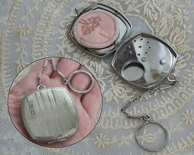 Vintage Silver Compact Dance Purse with Finger Ring - Powder Makeup Case