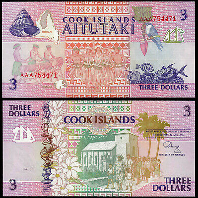 Cook Islands 3 Dollars (P7) N. D. (1992) Unc