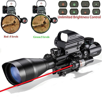 CV Life 4-12x50EG Tactical Hunting Rifle Scope+Holographic Dot Sight+Red Las
