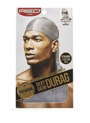 Red By Kiss Silky Satin Durag Premium Quality Perfect Comfort Style Gray HDUP07