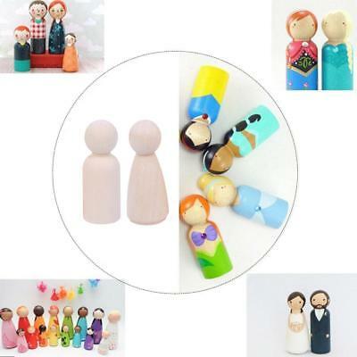 35/43/55/65mm Natural Wooden People Peg Dolls Wedding Cake Toppers Toys D9H6