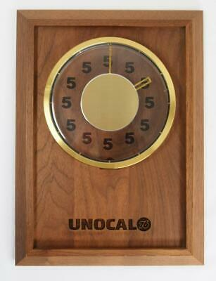 Vtg Unocal Union 76 Corporate Gift Walnut Brass Advertising Clock Gas Oil Sign