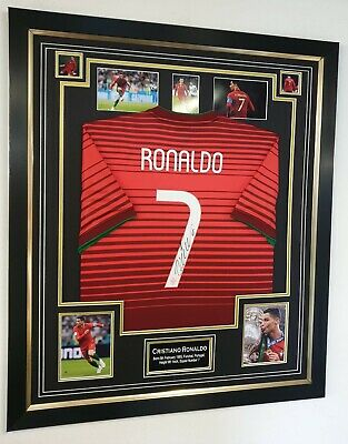376ad22ee CRISTIANO RONALDO SIGNED Portugal Shirt Print In Black Wooden Frame ...