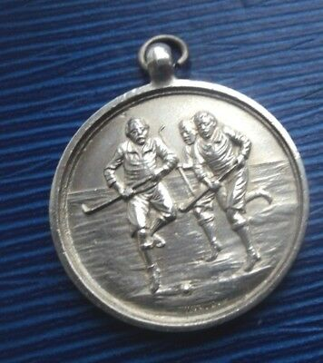 Early Sterling Silver Fob Medal h/m 1928 - Hockey / Shinty - not engraved