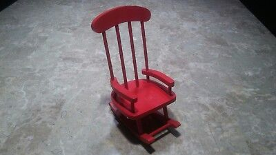 Vintage Red Child's Wooden Rocking Chair Child, Doll Bear Display