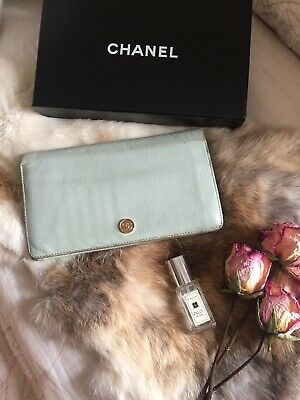 7d96b7076c446a Authentic CHANEL Coco Logo Leather Bifold Baby Blue Long Wallet Vintage CHIC