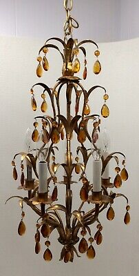 Antique Italian Gold Gilt 5 Arm Chandelier Hollywood Regency Amber Crystal-Works