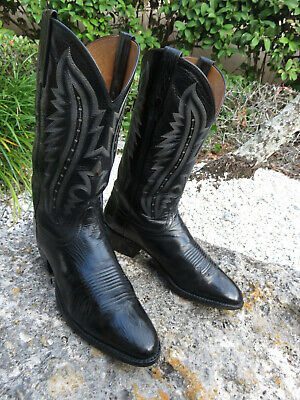 d6bbc6ee344 LUCCHESE 2000 BLACK Kangaroo Leather Western Cowboy Boots Men's sz ...
