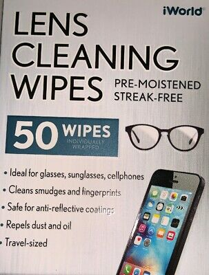 iWorld Lens Cleaning Wipes Pre Moistened Streak-Free NEW FAST FREE SHIPPING