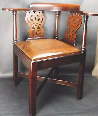 Antique Chippendale Chinese Courtship Corner Chair Wood & Leather