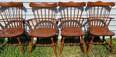 SET of (6) Vintage S BENT BROTHERS BROS COLONIAL WINDSOR CHAIRS 2 Arm 4 Side