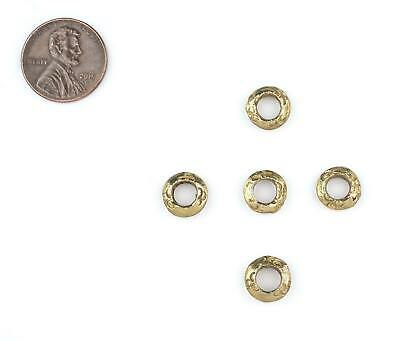Patterned Brass Ethiopian Wollo Rings 9mm Set of 5 African Large Hole Handmade