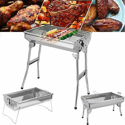 4 Sizes Stainless Steel BBQ Charcoal Barbecue Grill Garden Camping Picnic Party