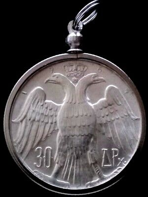Large 2-Head Eagle Silver Royal Marriage Authentic Greek Greece UNC Coin Pendant