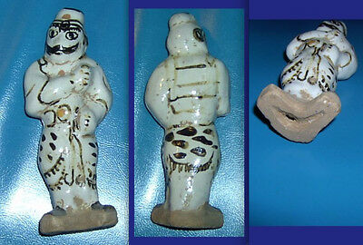 Rare Old Chinese Tomb Soldier Glazed Painted Terra Cotta - 100's of years old