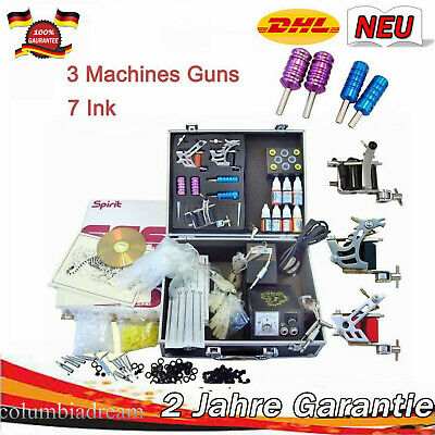New Tattoo Machine Set Tattoo Kit 3 Tattoo Gun/7 Inks/Power Supply/Needle Grips