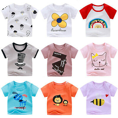 Toddler Baby Boy Graphic Printed Round Neck Tee Shirt Short Sleeves Top 9M-5T