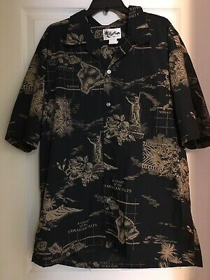 858636d7 Men's HOWIE Chart Of The Hawaiian Isles ALOHA SHIRT Size 2X S/S Made In