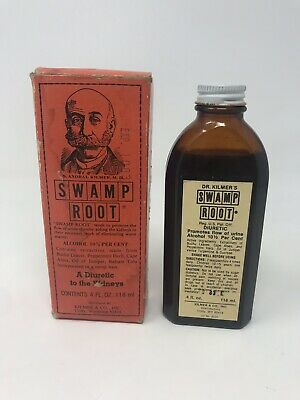 Vintage SWAMP ROOT Quack Cure Medicine Bottle Original Box Dr. Kilmer 4oz
