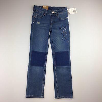 Girls size 5, H&M, slim-fit, stretch embroidered jeans, adjustable waist, BNWT