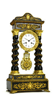 Antique 1850 French Empire Full Ormolu Bronze Deco Portico Pillar Mantle Clock