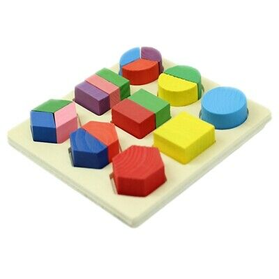 1X(Colored Baby Kids Wooden Aliquots Boards Learning Educational Toy GeometT5A8)