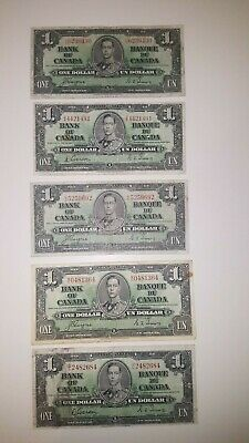 Bank Of Canada 1937-5-$1 Rare  Canadian Bank Note      Selling 1 Note For $24