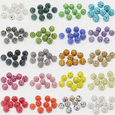 100Pc Czech Crystal Rhinestone Pave Clay Round Spacer Loose Bead Disco Ball 10MM