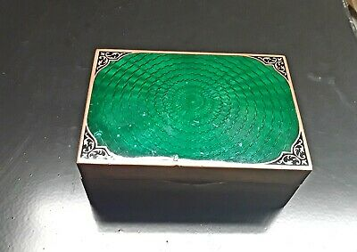 Vintage Antique Brass Green Guilloche Enamel Cigarette Box Trinket Box Keep Safe