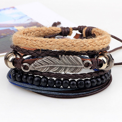 Fashion Silver Feather Bangle Multilayers Black Beads Hemp Rope Weave Bracelet