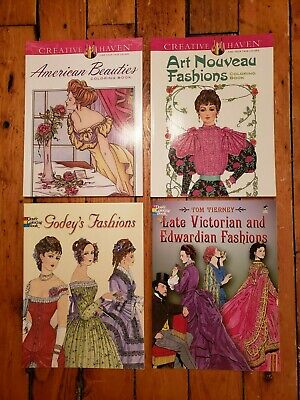 Dover Fashion History Colouring Books, Lot of 5 , Period Costumes, New Condition