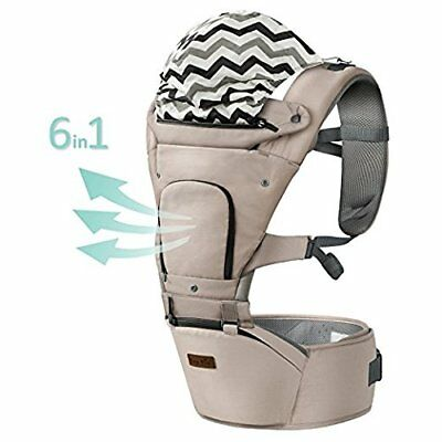 Hap Tim Ergonomic Baby Carrier with Hip Seat for Girls/Kids,Baby Backpack GREY